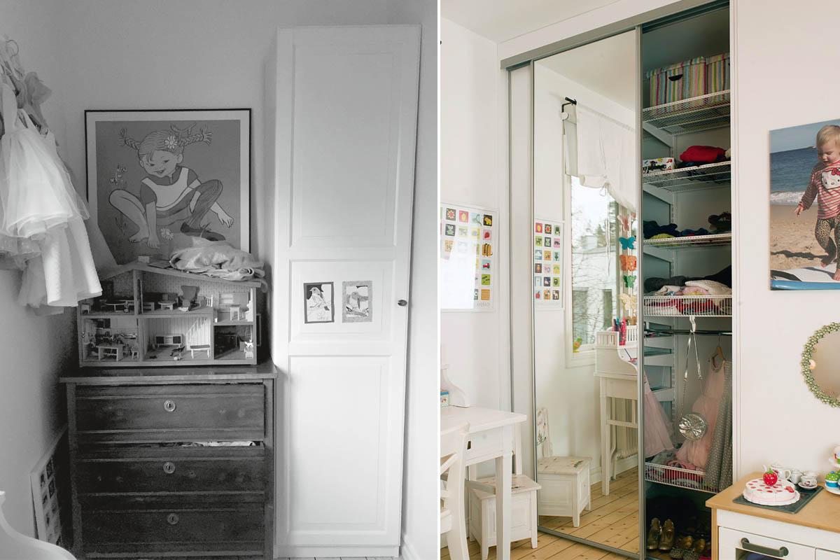 Före- och efter bilder för barnens garderob.